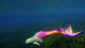 mermaid seaweed neon tail