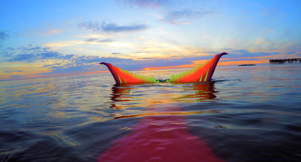 mermaid melissa neon tail sunset video
